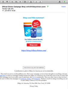 Email campaign Hillary Clinton