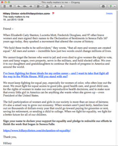 Email campaign Hillary for America