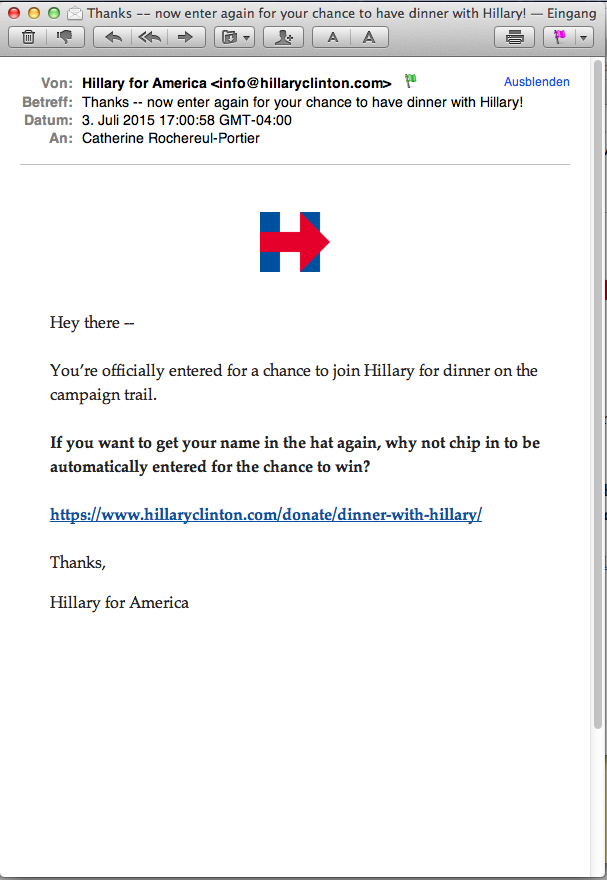 Email campaign Hillary for America: first email