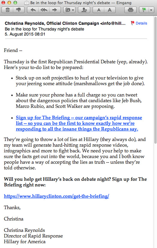 Email 29 - Hillary Clinton