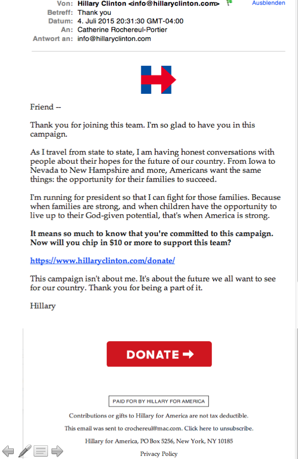 Email campaign Hillary for America: second email