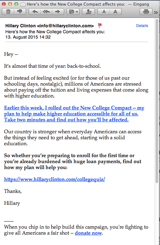 Email 38 about college plan