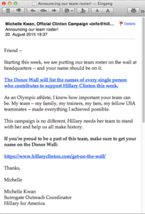 45th email from Hillary Clinton's team