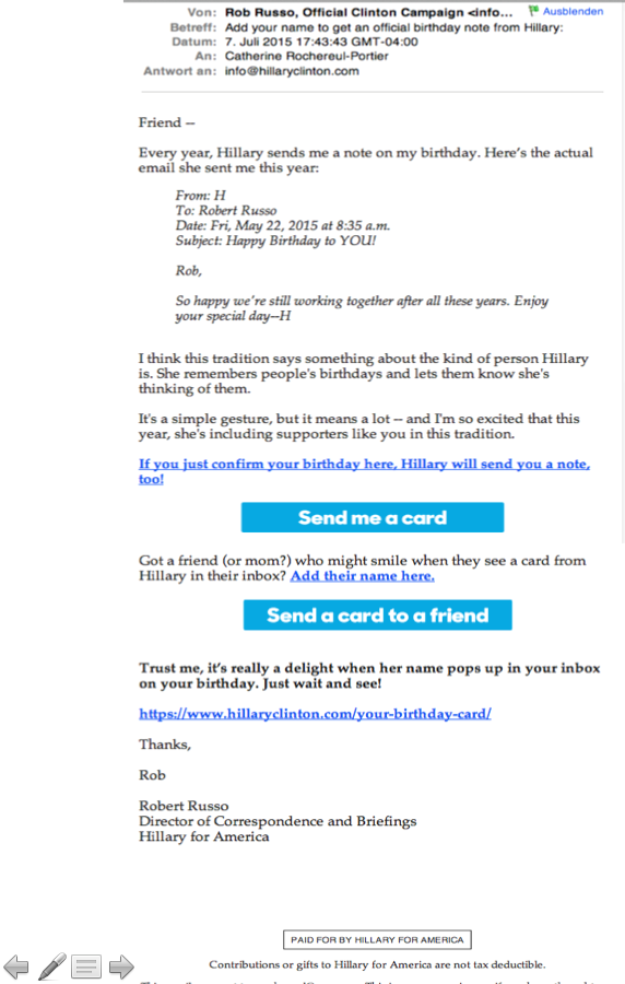 Email campaign Hillary for America: third email