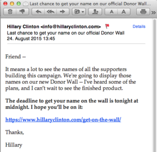 50th email from Hillary Clinton
