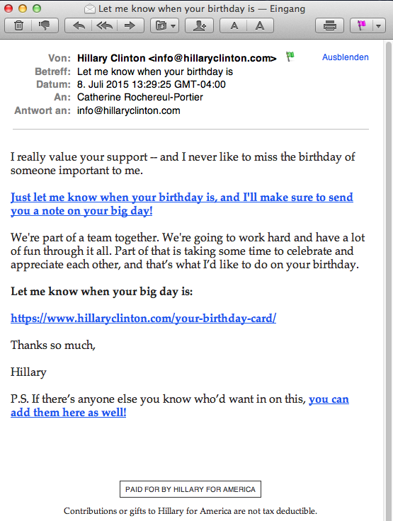 Email campaign Hillary for America: Email N° 4