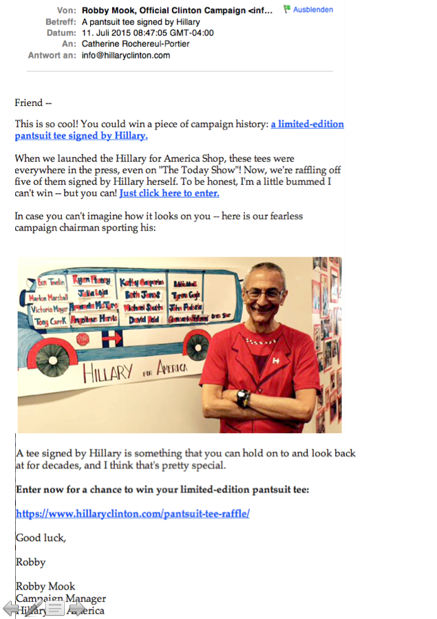 Email campaign Hillary for America: Email n°5