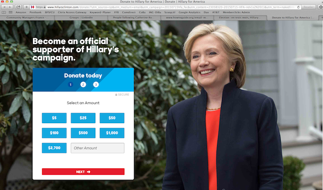 Email Campaign Hillary Clinton - Landing page