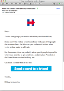 Email from Hillary - Thanks for signing up to receive a birthday card from Hillary