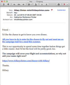 Hillary Clinton Email Campaign 16 - reminder Diner