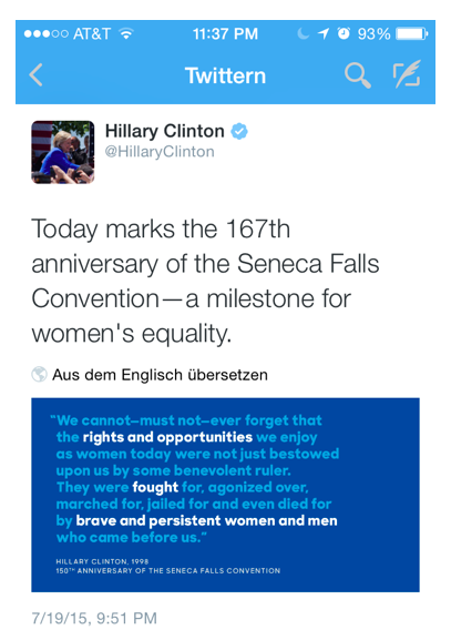 Hillary Clinton on Twitter – Gender Equity