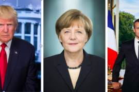 Officials portraits of Trump, Merkel, and Macron